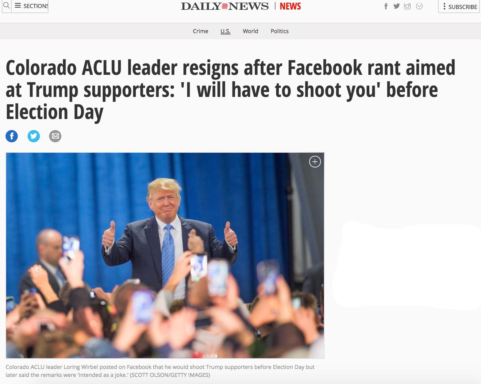 ACLU Trump Threats