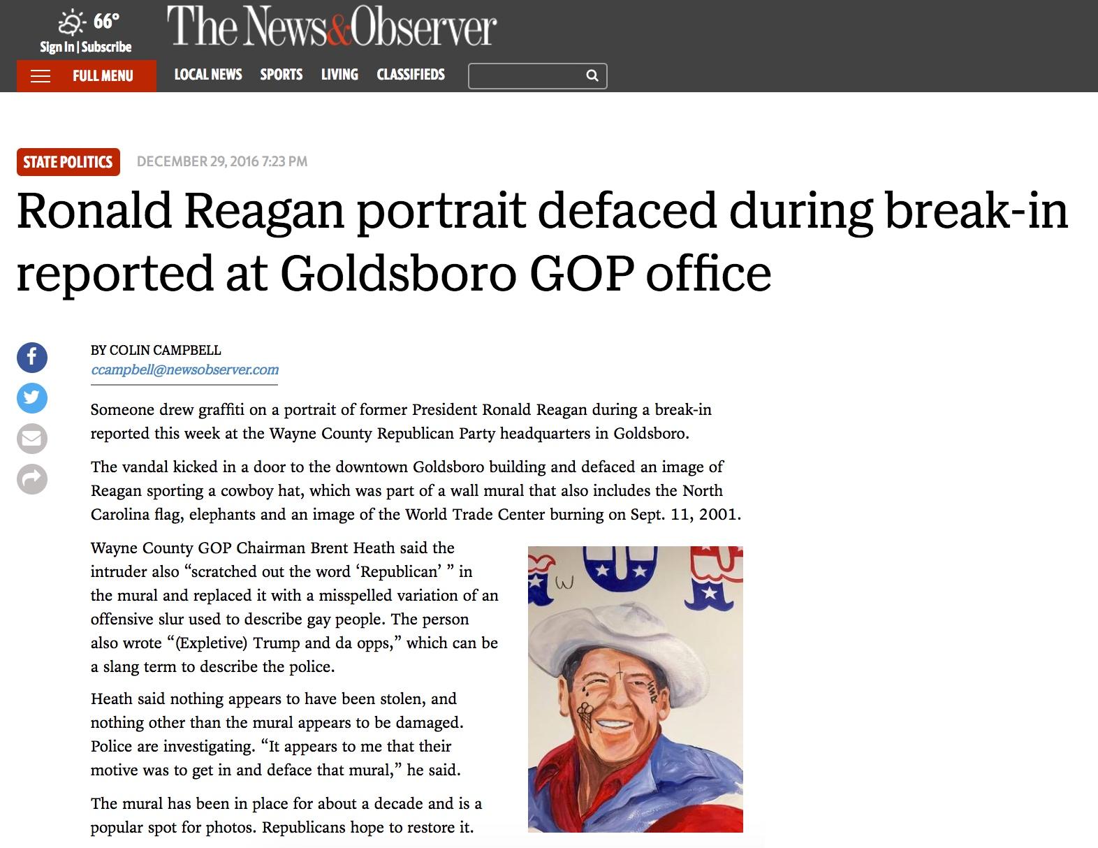 2016 12 29 - NC: Wayne County GOP Headquarters Break-in and