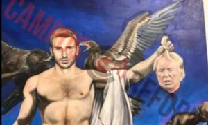The Univ. of Alaska is displaying a professor's painting that depicts Captain America holding the severed head of President Trump