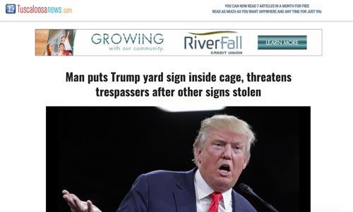 Trump signs stolen