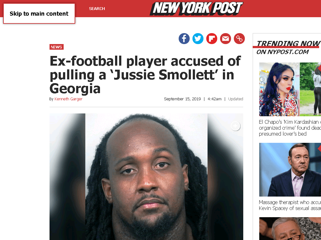 screenshot of https://nypost.com/2019/09/15/ex-football-player-accused-of-pulling-a-jussie-smollett-in-georgia/